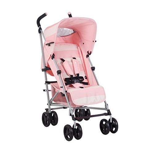 My Babiie US01 Pink Stripes Baby Stroller – Lightweight Baby Stroller with Carry Handle – Silver Frame and Pink Stripes – Lightweight Travel Stroller – Suitable from Birth to 33 lbs