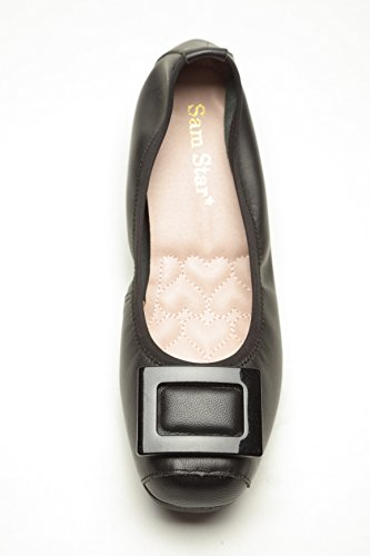Ballerina Flat Buckle Style Leather Extra Cushion Shoe for Woman (Size 7, Black) ()