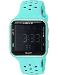 Armitron Sport Unisex 40/8417LCL Grey Accented Digital Chronograph Light Blue Perforated Silicone Strap Watch