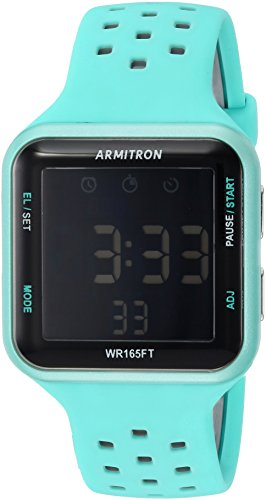 Armitron Sport Unisex 40/8417LBL Grey Accented Digital Chronograph Light Blue Perforated Silicone Strap Watch (Armitron Watches Women)