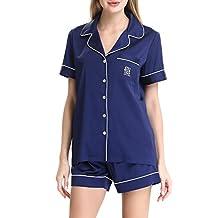 Women's Satin Short Sleeve Sleepwear Pajama Set with Shorts by NORA TWIPS(XS-XL)