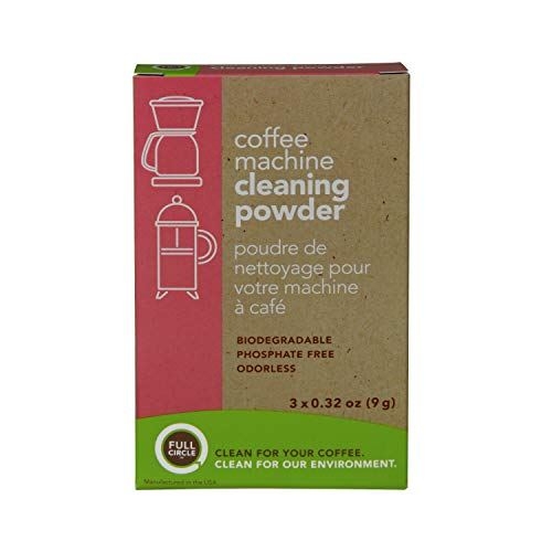 (Full Circle Coffee Machine Cleaner - Cleaning Powder - 3 Single Use Packets - Safe on Keurig Delonghi Nespresso Ninja Hamilton Beach Mr Coffee Braun )
