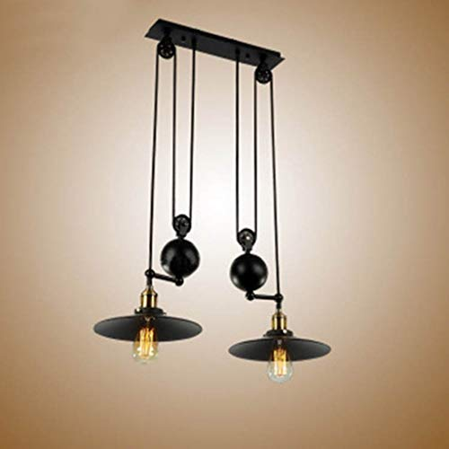 (DEED Simple Modern Personality Lamps,Retro Pendant Light Adjustable Height Pulldown Island Pendant Light Ceiling Lamp Retro Industrial 1 Light 2 Lights 3 Lights Creative Fixtures Stage Decorative Lig)