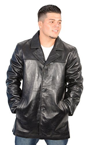 Milwaukee Leather Mens Classic Black Leather Four Button Front Car Coat - Four Button Leather Coat