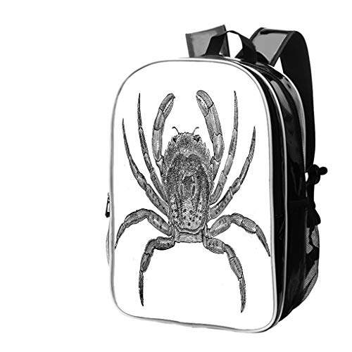 High-end Custom Laptop Backpack-Leisure Travel Backpack Antique Illustration of Common Shore Crab (Carcinus maenas) Water Resistant-Anti Theft - Durable -Ultralight- Classic-School-Black