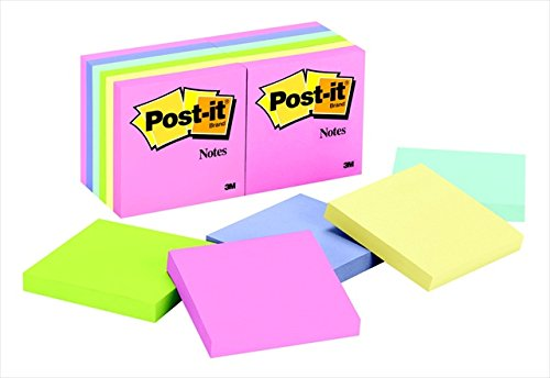 Post-it 005049 Original Notepad Standard Pack44; 3 x 3 In. - Assorted Pastel Colors44; 100 Sheets Per Pad44; Pack Of 12