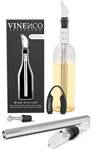 VINENCO Wine Chiller Set + Foil Cutter, Stopper, Storage Pouch & Ebook – Premium 3-in-1 Stainless Steel Bottle Cooler Stick, Decanting Aerator & Drip-Free Pourer | Design Bar Accessory Men Women