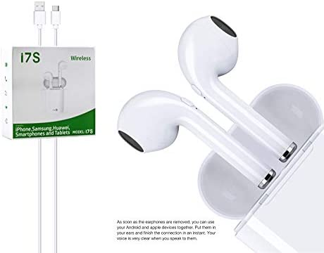 M2 TEC - Auriculares Bluetooth, Auriculares estéreo Auriculares Internos Inalámbricos con Caja de Carga para AirPods iPhone y Samsung y Smartphone Android ...