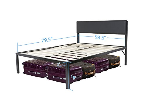 Olee Sleep Heavy Duty 18 Inch Tall Bed Frame with Headboard Platform Bed 4000HB 18BF11 (Queen - 18 inch tall)
