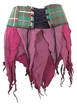 Genuine Scottish Tartan Designer Pixie Kilt Steam Punk Psytrance Skirt W8 Red
