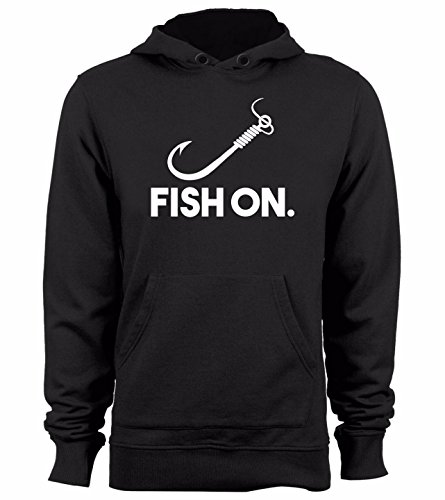 Fish on Hoodie Funny Fishing and Hunting Sweatshirts, Large Black