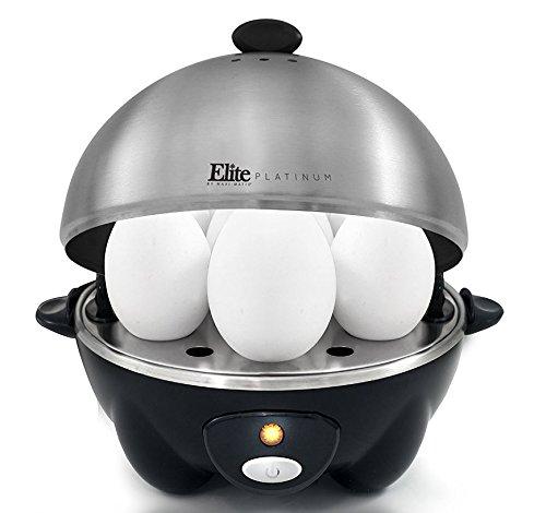 Elite Cuisine EGC-508 Maxi-Matic Egg Cooker & Egg Poacher W/ Stainless Steel Tray, Black Stainless Egg Poacher