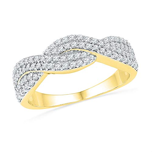 Jewel Tie Size - 6-10k Yellow and White Gold Two Toned Diamond Curved CrossOver Wedding Band OR Fashion Ring (1/2 ()