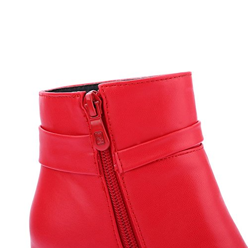 Allhqfashion Women's Soft Material Round Closed Toe Solid Low-top High-Heels Boots Red ZYryz