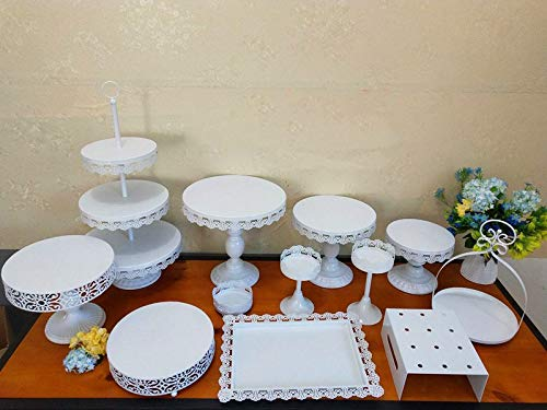 Set of 12 Pieces Cake Stands, Wedding Decoration Fruits Dessert Tray Cake Stand Holder Cupcake Pan Iron Cupcake Holder Display White Plate for Baby Shower Wedding Birthday Party Celebration Home Decor