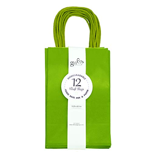 36CT Solid Color Kraft Paper Gift Bags Bulk with Handles [ Ideal for Shopping, Packaging, Retail, Party, Craft, Gifts, Wedding, Recycled, Business, Goody and Merchandise Bag] (Lime Green, 36CT Small) -