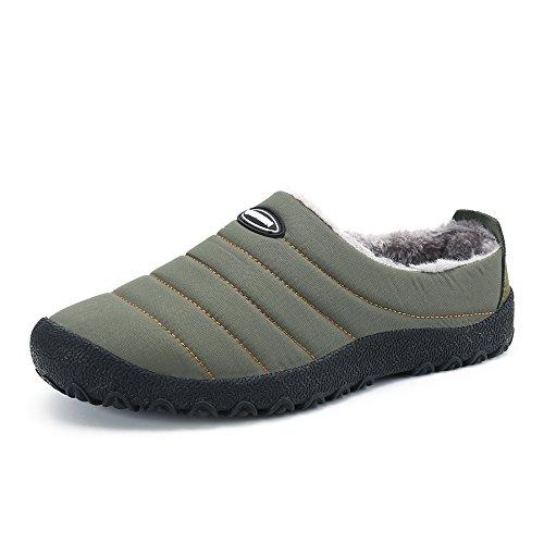 Unisexes Pantoufles Homme Imperméables d'hiver d'extérieur Voovix Vert Chaussons Femme et Chaussures d'intérieur Chaud et pour qAwRBEC