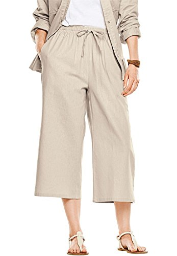 Women's Plus Size Drawstring Linen Culottes Natural Khaki,20 W (Plus Size Linen Cropped Pants)