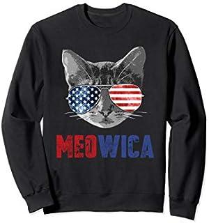Funny Cat  4th of July Meowica Merica USA American Flag Sweatshirt T-shirt | Size S - 5XL