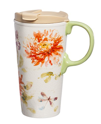 Cypress Home Watercolor Floral Ceramic Travel Coffee Mug, 17 (Ceramic Plastic Mug)