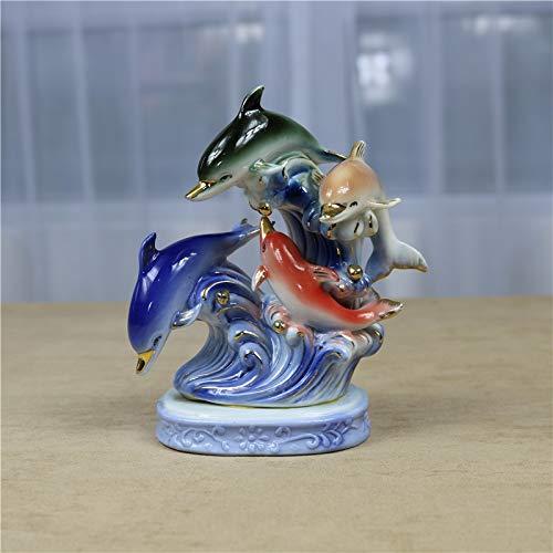 (Figurine Figurines Statue Statues Statuette Sculptures Buddha Porcelain Dolphin Statue Ceramic Ocean Park Aquarium Animal Sculpture Adornment Craft for Home Decor and Festival Embellishment)