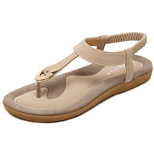 Back Strap Thong - Orangetime Sandals Women Slingback T-Strap Flat Sandal Comfort Bohemian Beach Flats Ladies Ankle Strap Thong Sandals Beige 37