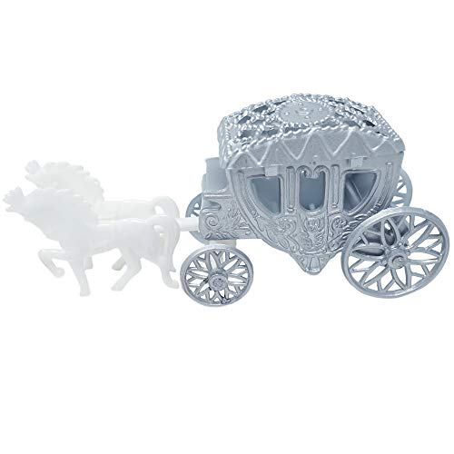Mini Cinderella Horse & Carriage Coach Set Cake Topper Centerpiece Keepsake - Silver