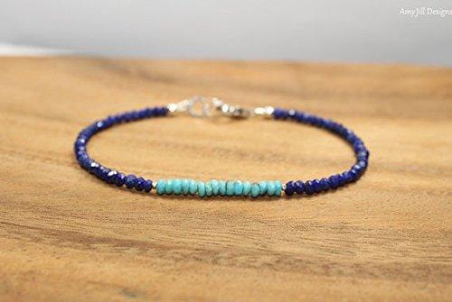 Tribe Silver 3mm (JP_Beads Sleeping Beauty Turquoise & Lapis Bracelet, Hill Tribe Silver Beads, Sleeping Beauty Turquoise Jewelry 3mm- 3.5mm)
