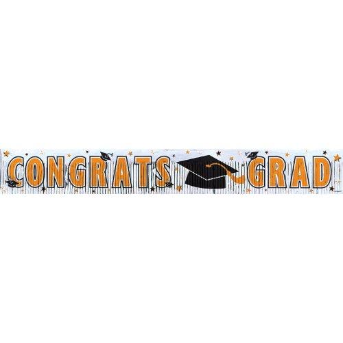 Amscan Congrats Grad Graduation Party Metallic Fringe Banner Decoration, Orange, 5' x 8