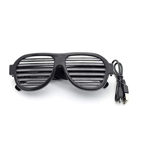 Activado Brillante Decoración de de Black Intermitente Control Sonido Bar LED Carga Gafas Fiesta USB Halloween Coomir Voz qBwfSW