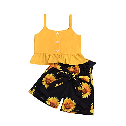 Toddler Baby Girl Sunflower Halter Ruffle Tank Crop Tops + Floral Shorts Pant with Bowknot Two Piece Summer Strap Outfits (Sunflower, 4-5 Years)