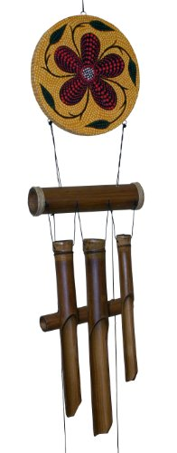 Cohasset 286H Red Flower Dots Harmony Bamboo Wind Chime