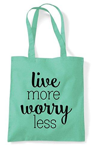 Bag Shopper Tote Live Mint Less Worry More HCSqIS