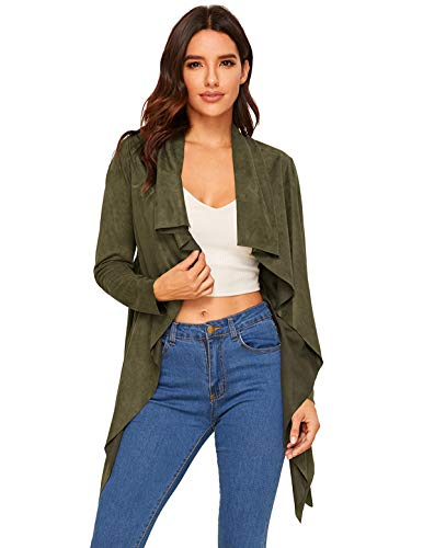 (Milumia Women's Waterfall Collar Suede Long Sleeve Solid Jackets Outwear Army Green)
