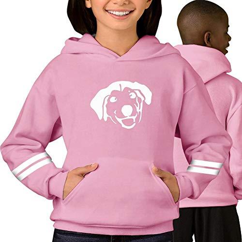 Cute Dog Silhouette Print Children/Youth Fun Long Sleeve Hoodie Sweatshirt Uniform Jacket Unisex Pink S