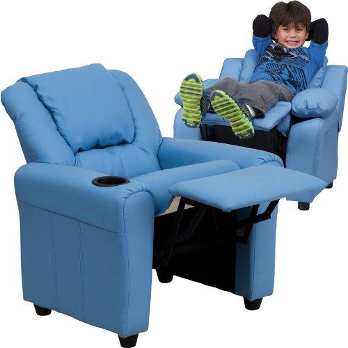 """27"""" Contemporary Light Blue Vinyl Kids Recliner w/ Cup Holder & Headrest (1 Chair) - FF-DG-ULT-KID-LTBLUE-GG"""