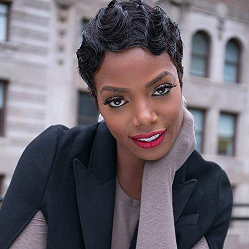 TALANG HAIR Short Wavy Curly Wig for Women Black Finger Wave Wig Natural Looking Synthetic Water Wave Full Wigs with Wig Cap