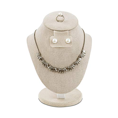 Mooca Linen Covered Wood Jewelry Display Necklace Chain Jewelry Bust Display Holder Stand, Necklaces Display Necklace Mannequin, Necklace Bust Jewelry Bust Stand, 8 3/4