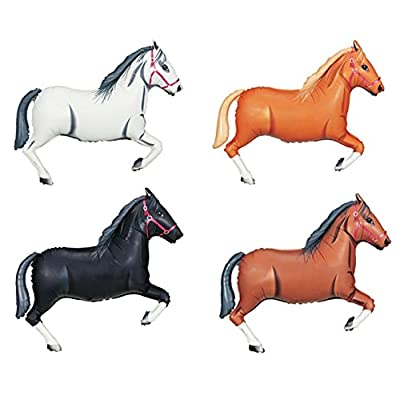 "DalvayDelights 4 Piece Horse Shaped 43"" White Tan Black Brown Foil Mylar Balloons Party Set: Toys & Games"