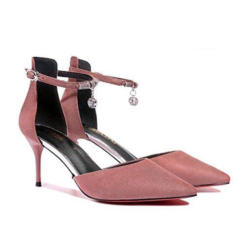 KHSKX-High-Heeled Zapatos En La Primavera De 7.5Cm Con Punta Fina Bajo La Luz De Solo Zapatos Rosa 34 35