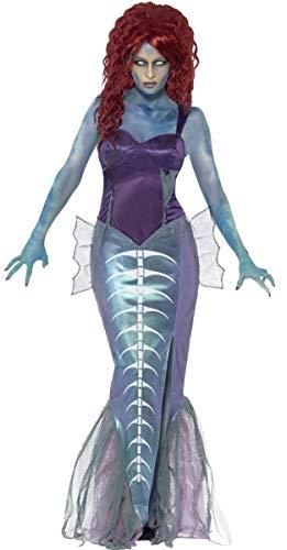 Ladies Zombie Mermaid Halloween Mythical Beast Sea Creature Twisted Fairy Tale Aerial Fancy Dress Costume Outfit (UK 16-18) Blue-Purple]()