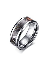 JAJAFOOK Men 8mm Camo Trees Leaves Tungsten Carbide Ring Camouflage Hunting Polished Finish Comfort Fit