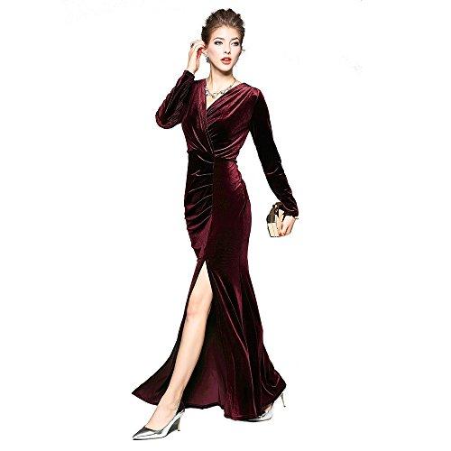 Women's Neck Maxi Dress Sleeve Slit Evening DEZZAL Long Burgundy Surplice Velvet V TIxTd8
