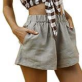 Women Elastic Waist Pants,Jchen Ladies Casual Summer High Waist Loose Shorts Cotton Linen Shorts Pants with Pockets (M, Gray)