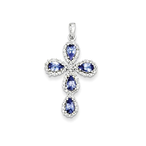 Tanzanite Cross Necklace (ICE CARATS 14k White Gold Diamond Blue Tanzanite Cross Religious Pendant Charm Necklace Fancy Fine Jewelry Ideal Mothers Day Gifts For Mom Women Gift Set From Heart)