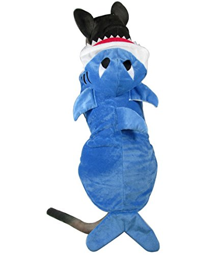 SELMAI Shark Dog Animal Costumes Hoodie Pajamas Fleece Coat Medium Large Dog Clothes Winter Vest (Dog Haloween Costume)