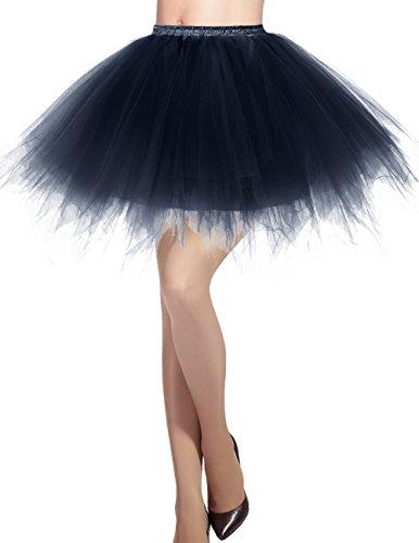 Dresstells Jupon Jupe Ballet Tutu Court en Tulle Couleurs varies Bleu Marine