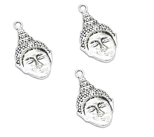 30pcs Vintage Antique Silver Alloy Buddha Head Charms Pendant Jewelry Findings for Jewelry Making Necklace Bracelet DIY 28x15mm (30pcs Buddha Head) ()