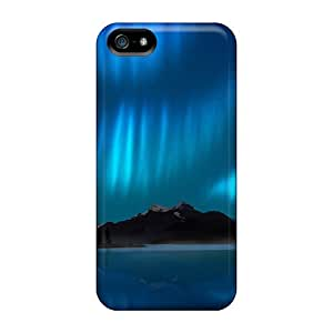 New Premium Flip Case Cover Northern Lights Lake Reflection Skin Case For Iphone 5/5s