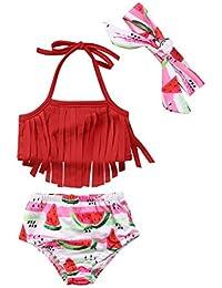 d4b7a33652bb7 3Pcs Baby Girls Tassel Bikini Set Fruit Watermelon Swimwear Swimsuit  Bathing Suit with Headband